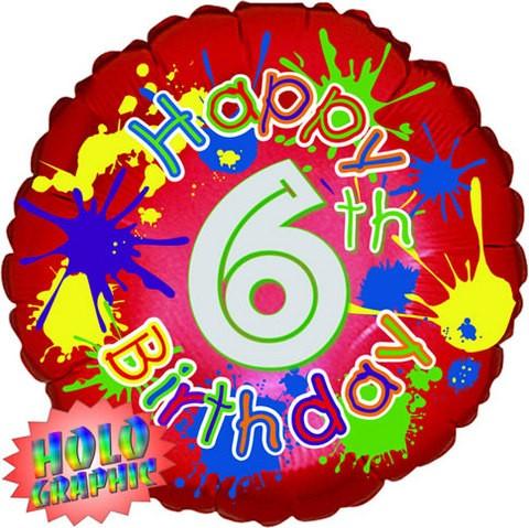 18in 6th Birthday Splash Foil