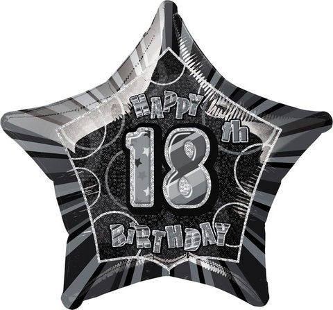 20in 18th Birthday Glitz Black Foil