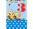 Boy Age 3 - Birthday Card - 'Boy In Yellow Car'