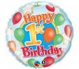 18in 1st Birthday Balloons & Stars Foil