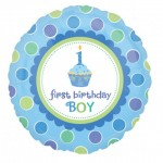 18in 1st Birthday Sweet Little Cupcake Boy Foil