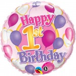 18in 1st Birthday Balloons & Hearts Foil