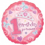 18in  1st Birthday Princess Foil