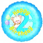 18in 2nd Birthday - Blue Teddies Foil