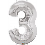 34in Silver Number '3' Foil