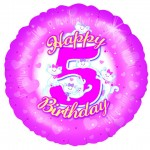 18in 5th Birthday Girl - Pink Foil