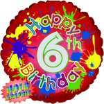 18in 6th Birthday Splash Foil