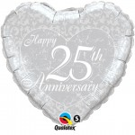 18in Happy 25th Anniversary Heart Foil
