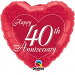 18in Happy 40th Anniversary Heart Foil
