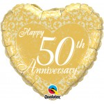 18in Happy 50th Anniversary Heart Foil