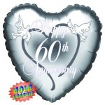 18in Happy 60th Anniversary Doves Foil