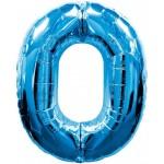 34in Number '0' - Blue Foil