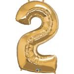 34in Gold Number '2' Foil