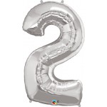 34in Silver Number '2' Foil