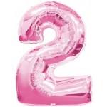 34in Number '2' - Pink Foil