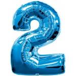 34in Number '2' - Blue Foil