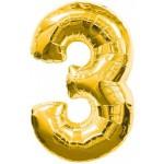 34in Number '3' - Gold Foil