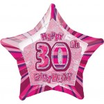 20in 30th Birthday Glitz Pink Foil