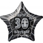 20in 30th Birthday Glitz Black Foil