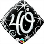 18in 40th Elegant Sparkles & Swirls Foil