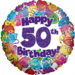 18in 50th Balloons & Streamers Foil