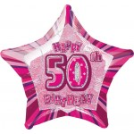 20in 50th Birthday Glitz Pink Foil