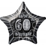20in 60th Birthday Glitz Black Foil