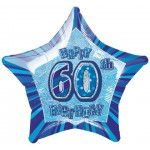 20in 60th Birthday Glitz Blue Foil