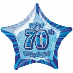 20in 70th Birthday Glitz Blue Foil