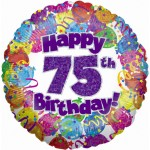 18in 75th Balloons & Streamers Foil
