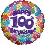 18in 100th Balloons & Streamers Foil