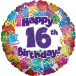 18in 16th Balloons & Streamers Foil