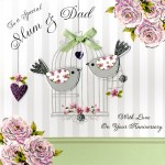 Anniversary Mum & Dad- 'Birds & Birdcage ' - SORRY OUT OF STOCK
