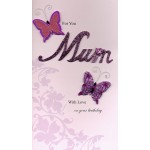 Birthday Card - 'Mum' - 'Lettering With Butterflies'  - SORRY OUT OF STOCK