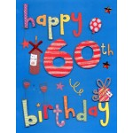 60th Birthday Card - 'With Red Wine' -SORRY - OUT OF STOCK