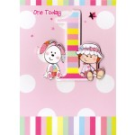 Girl Age 1 Happy Birthday - 'Girl & Bunny' - SORRY OUT OF STOCK