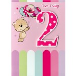 Girl Age 2 Happy Birthday  - 'Bear With Balloons' - SORRY OUT OF STOCK