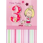 Girl Age 3 Happy Birthday - 'Girl With Doll' - SORRY OUT OF STOCK