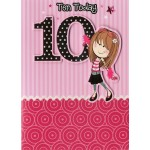 Girl Age 10 Birthday Card- 'Fashion Girl'  - SORRY OUT OF STOCK
