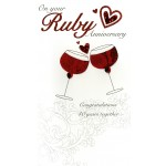 On your Ruby Anniversary- '2 Red Wine Glasses & Heart' -  SORRY OUT OF STOCK