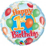 18in 1st Birthday Balloons & Stars Foil