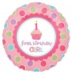 18in  1st  Birthday Sweet Little Cupcake Girl Foil